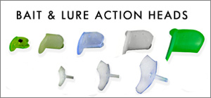 Selection of bait and lure fishing action heads