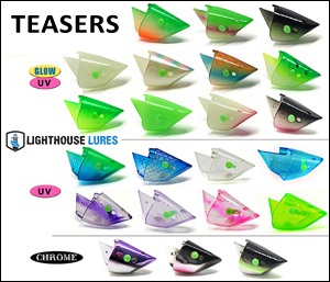 Selection of lighthouse teaser heads for salmon fishing