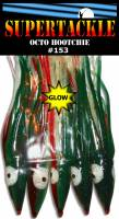 Traditional Army Truck glow pattern - #153 - 4 inch salmon hoochie made by Supertackle.