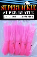 "3"" - Pink Glow Super Beatle fishing squid"