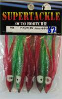 Supertackle, 3 inch hoochies, red and green metallic