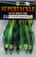 Supertackle hoochies, 3 inch, green, black and chartreuse.