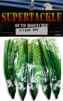 Supertackle, 3 inch, 99, green, black and chartreuse hoochies
