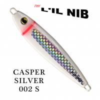 Lil Nib Silver Casper salmon jigging lure profile.