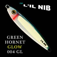 Green Hornet Glow in the dark fishing jig lure for salmon and bottom fish profile.