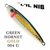 Green Hornet Gold Lil Nib salmon jigging lure profile.