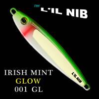 Irish Mint Glow, Lil Nib fishing lure, green and white profile.