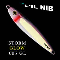 Storm Glow purple and white jigging lure by Lil Nib packaged