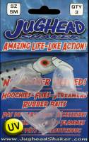 "1"" sm Jughead Shaker - UV CLEAR bait & lure heads 3/pk"