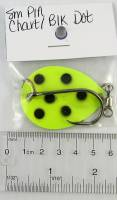 small P1A Chartreuse with black dot salmon trolling spoon.
