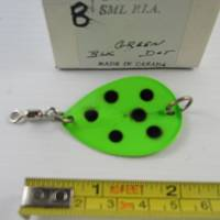 """#08 • 2"""" small P1A UV Green with black dot spoon blade"""