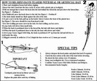 Instructions on how to rig a Rhys Davis super herring salmon fishing head.
